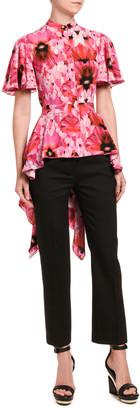 Alexander McQueen Floral Silk High-Low Flutter-Sleeve Shirt