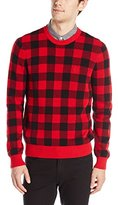 Original Penguin Men's Long Sleeve Crew Buffalo Plaid Jacquard