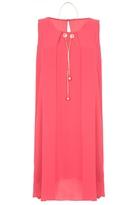 Quiz Coral Chiffon Necklace Tunic Dress