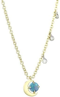 Meira T 14K Yellow Gold, Diamond & Opal Moon Necklace