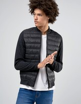 Selected Homme Plus Quilted Bomber With Contrast Jersey Sleeves