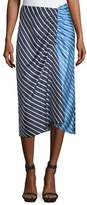 Tibi Delphina Striped Colorblock Satin Midi Skirt