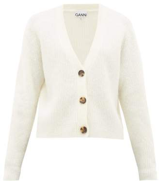 Ganni V-neck Ribbed-knit Cardigan - Womens - Ivory