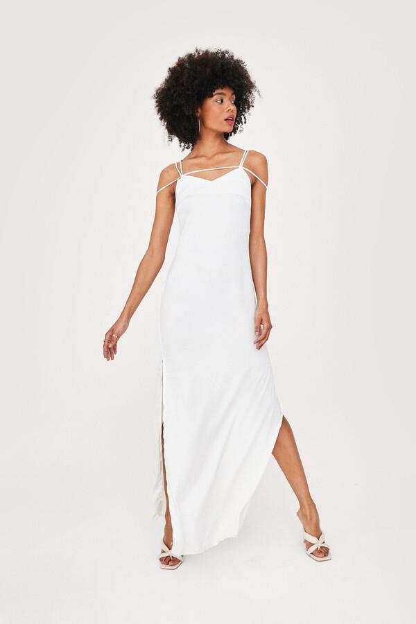 Nasty Gal Womens Strappy Satin Side Slit Maxi Dress - White - 4