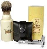 Kaliandee 3 Piece Travel Shaving Set with Simpsons Major Brush, Merkur Razor and Taylor of Old Bond Street Soap