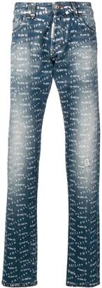 Philipp Plein Logo Print Straight Leg Jeans