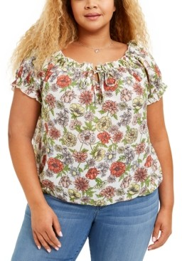 Planet Gold Trendy Plus Size Printed Ruffled Top