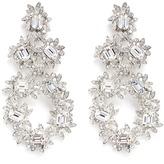 Kenneth Jay Lane Glass crystal flower drop clip earrings