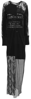 McQ Patchwork-effect Layered Printed Lace And Cotton-jersey Maxi Dress