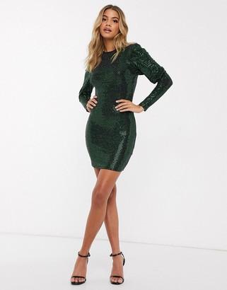 I SAW IT FIRST long sleeve glitted mini dress in green