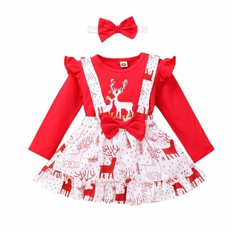 Zerototens Kids Clothes Set Zerototens Baby Girls Romper Dress Set Outfits Toddler Newborn Baby Long Sleeve Christmas Deer Tops + Bowknot Skirt + Headband Outfits 12 Months-4 Years Kids (2-3 Years) Red