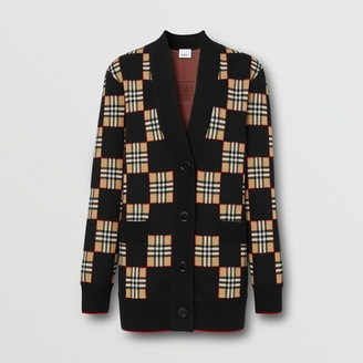 Burberry Chequer Merino Wool Blend Oversized Cardigan