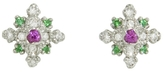 Kataoka Emerald, Sapphire and Diamond Stud Earrings - Platinum