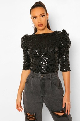 boohoo Tall Shoulder Detail Sequin Blouse