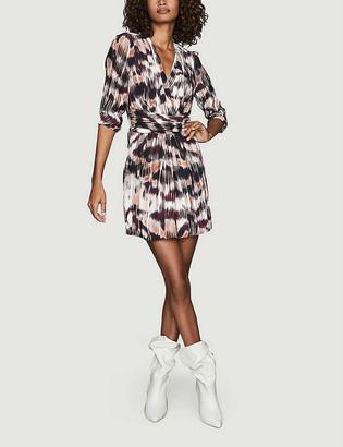 Reiss Orla Ikat print crepe mini dress