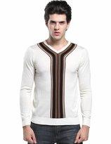 SSLR Men's Casual V Neck Pullover Thin Wool Sweater
