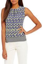 Calvin Klein Petites Geometric Border Print Matte Jersey Pleat Neck Shell