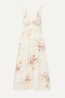 LoveShackFancy Sabina Lace-trimmed Floral-print Silk-satin Midi Dress - Cream