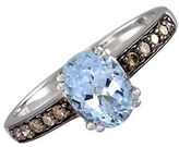 Effy 14 Kt. White Gold Aqua and Diamond Ring 0.17 CT. T.W.
