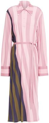 J.W.Anderson Striped Stretch-jersey Midi Shirt Dress