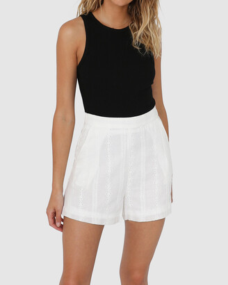 Lost in Lunar - Women's White High-Waisted - Kaisha Shorts - Size One Size, 6 at The Iconic