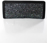 St. John Black Multi-Colored Satin Sequined Design Push Lock Closure Clutch Hand