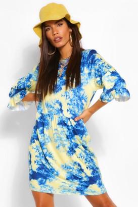 boohoo Tie Dye 3/4 Sleeve T Shirt Smock Dress