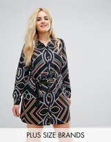 AX Paris Plus Bright Line Print Shirt Dress
