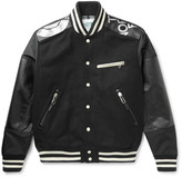 Junya Watanabe The North Face Leather-Trimmed Nylon and Melton Wool-Blend Bomber Jacket