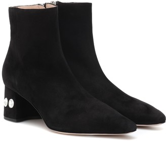 Miu Miu Embellished suede ankle boots
