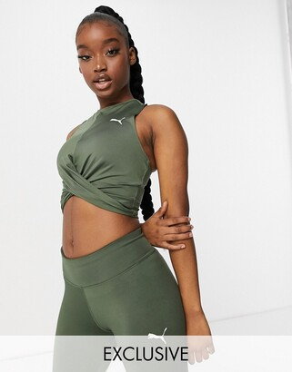 Puma Training knot front tank top in thyme exclusive to ASOS