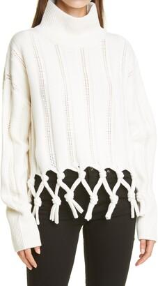Jonathan Simkhai Josephine Chunky Tassel Wool & Cotton Blend Turtleneck Sweater