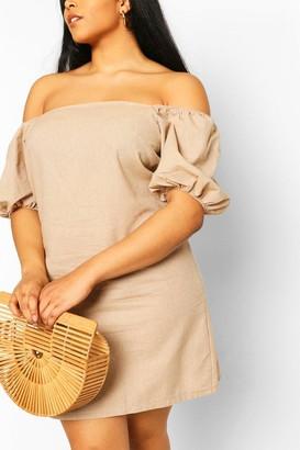 boohoo Plus Bardot Linen Shift Dress