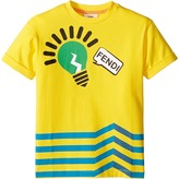 Fendi Short Sleeve Logo Light Bulb Graphic T-Shirt Boy's T Shirt