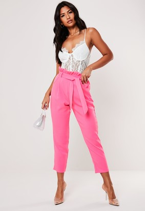 Missguided Petite Pink Paperbag Waist Cigarette Trousers