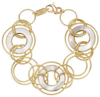 Ippolita Polished Rock Candy 18K Yellow Gold & Mother-Of-Pearl Slices and Links Bracelet