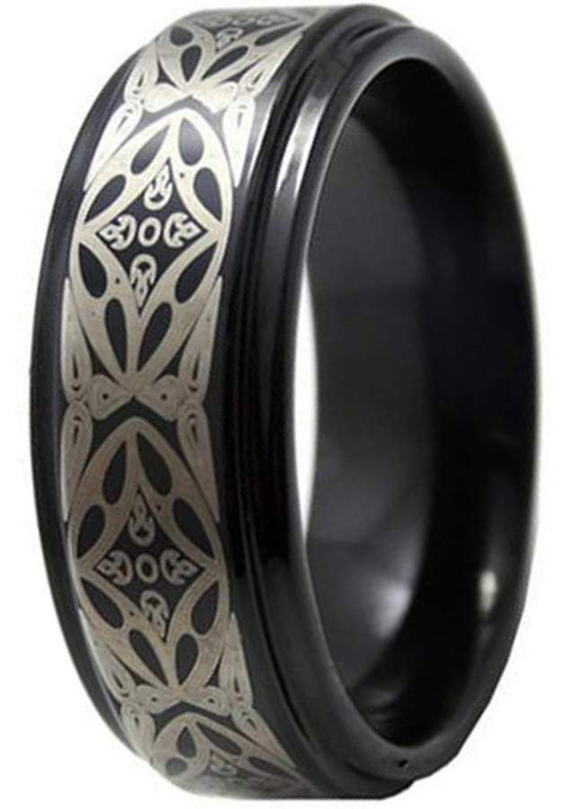Celtic LAMUCH 8mm Mens Tungsten Carbide Rings Black Plated Laser Knot Pattern Wedding Band Size 11