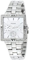 Pulsar Women's PYR047 Dress Sport Square Silver Dial Stainless Steel Watch