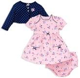 Little Me Infant Girls' Dot Cardigan, Floral Dress & Bloomers Set - Sizes 3-12 Months
