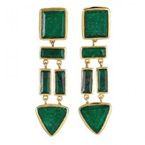 Charm & Chain Margaret Elizabeth The Mira Earrings, Emerald
