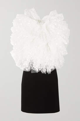 Givenchy Two-tone Ruffled Polka-dot Flocked Tulle And Crepe Mini Dress - Black