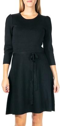 Nina Leonard Women's Fit & Flair Sweater Dress with Self-Tie Sash