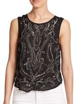 Haute Hippie Paisley-Embellished Silk Tank Top