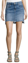 7 For All Mankind Pencil Denim Mini Skirt W/ Step Hem, Indigo