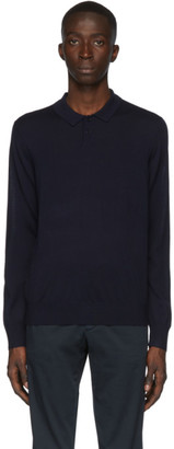 Ermenegildo Zegna Navy Knit Long Sleeve Polo