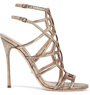 Sergio Rossi Laser-cut Glittered Metallic Textured-leather Sandals