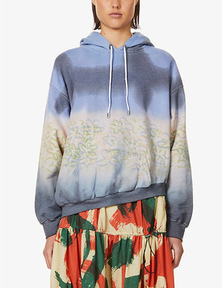 Collina Strada Floral-print cotton-blend jersey hoody