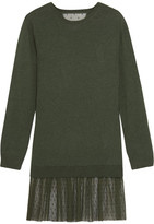 RED Valentino Cashmere And Point D'esprit Mini Sweater Dress - Dark green