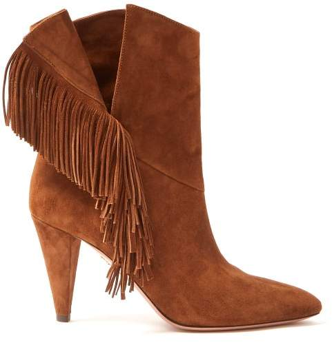 Aquazzura Apache 85 Fringed Suede Ankle Boots - Womens - Tan