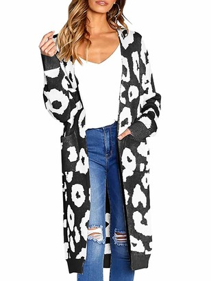 Imaxcite Women Long Sleeve Open Front Leopard Knit Long Cardigan Casual Print Knitted Midi Sweater Coat Outwear with Pockets (Coffee Small)
